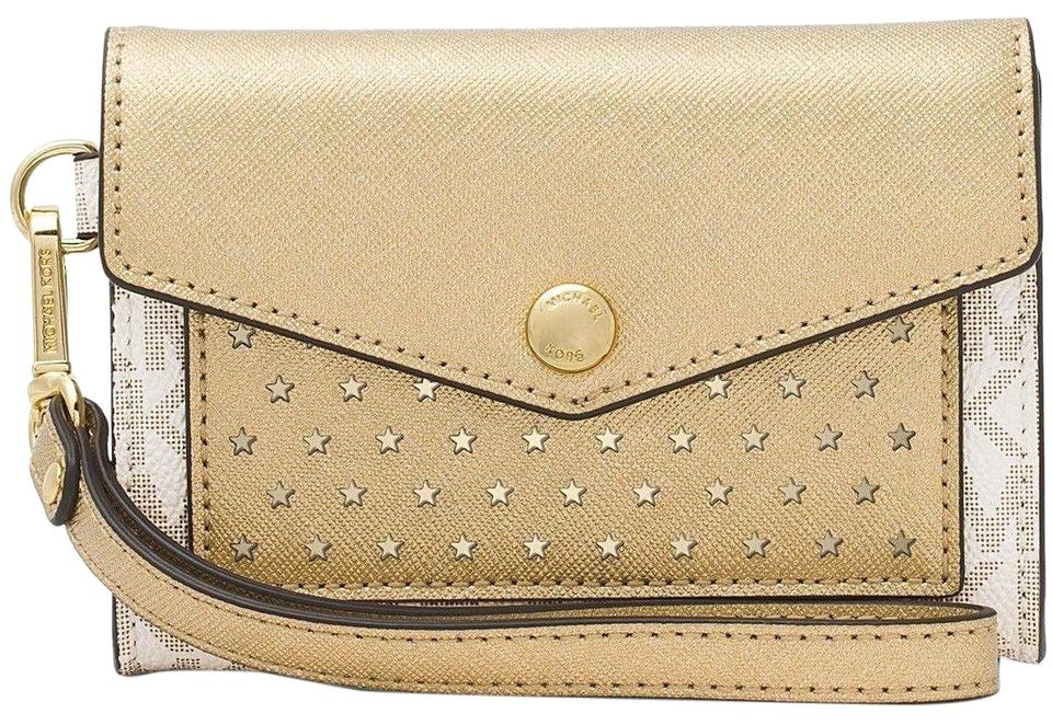 598a75d1a6a0 Michael Kors Honey Medium Card Holder Vanilla Gold Vanilla Gold Faux  Leather Wristlet