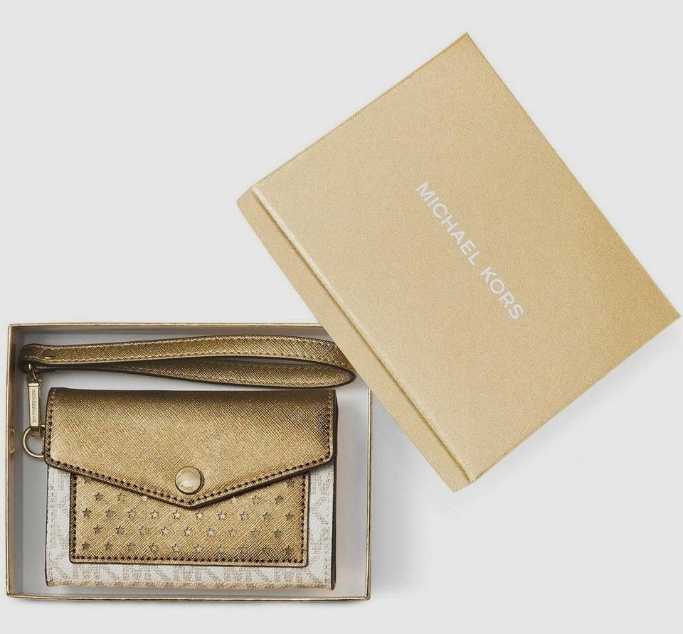6ca07626869b Michael Kors Honey Medium Card Holder Vanilla Gold Vanilla Gold Faux ...