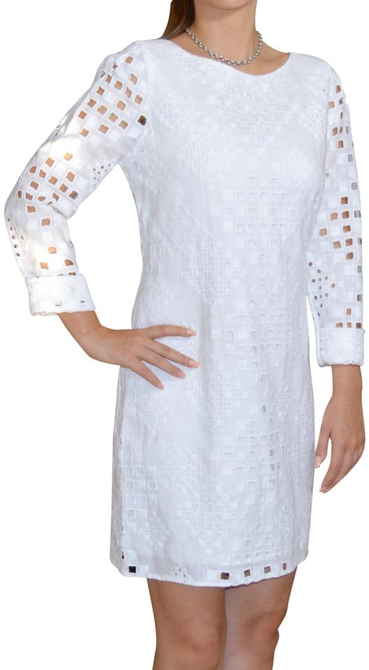 f0ac371a9e2 Elie Tahari short dress Sugar White Embroidered Linen Zippered on Tradesy  Image 0 ...
