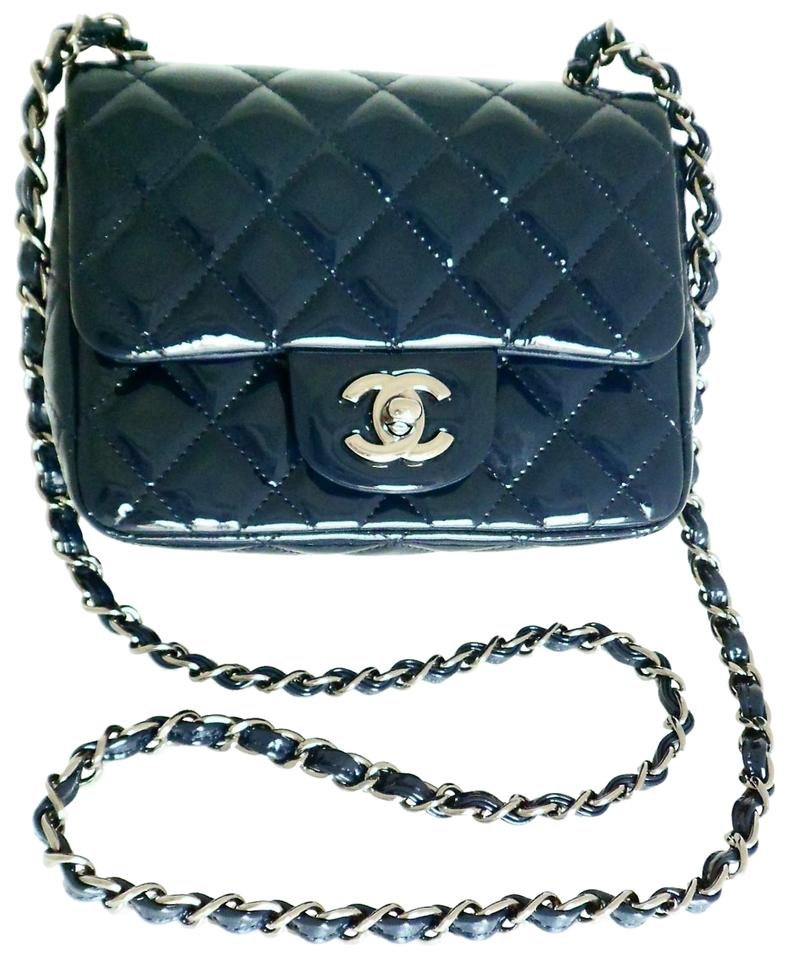 067918c0e18977 Chanel Flap 14b Classic Mini Square Navy Blue Patent Leather Cross ...