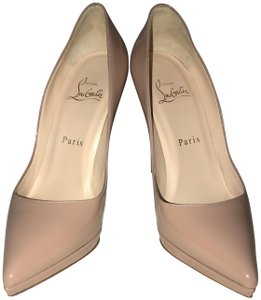 Christian Louboutin Patent Leather Red Bottoms Pointy Toe Platform Nude Pumps