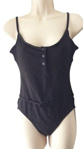 Lacoste One piece snap front open back belted swimsuit