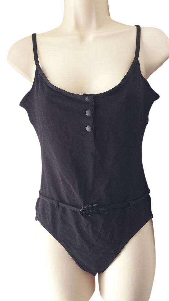 ca85019fdb7a2 Lacoste Black Snap Front Open Belted Swimsuit One-piece Bathing Suit ...