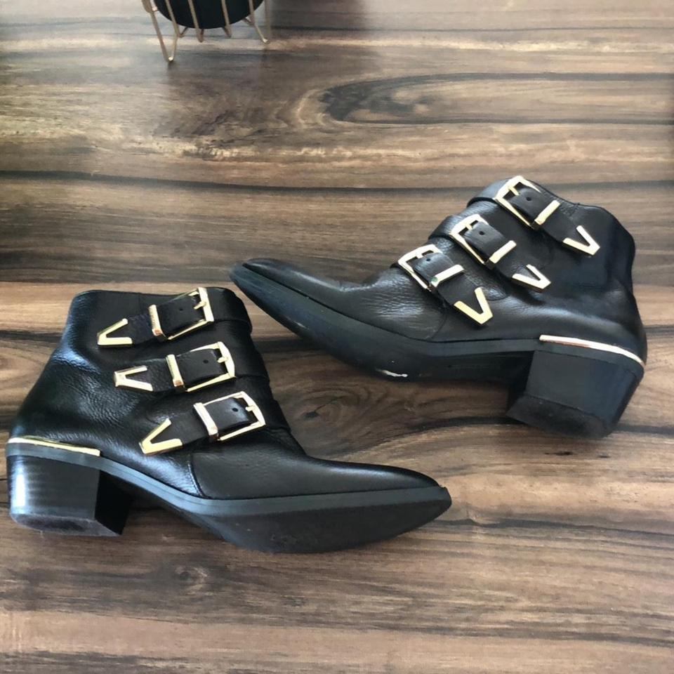 Studded Camuto Booties Boots Buckle Vince Black Chloe HzBwqv