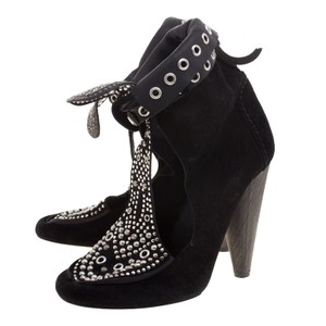 Isabel Marant Suede Mossa Studded Cutout Black Boots