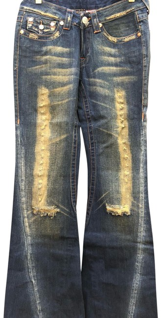 Item - Blue/Green Distressed Boot Cut Jeans Size 4 (S, 27)