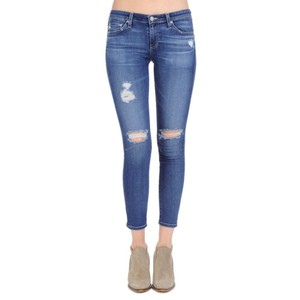 AG Adriano Goldschmied Distressed Ankle Cut Skinny Jeans-Distressed