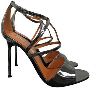 Walter De Silva Leather Open Strappy Metallic Steel Sandals