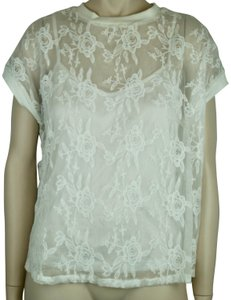 Kersh Lace Floral Short Sleeve Lined Camisole Top WHITE