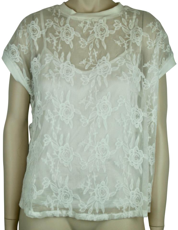 3858d7eb8b3c1 Kersh White Floral Lace with Cap Sleeves Blouse Size 4 (S) - Tradesy