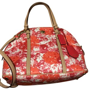 Coach Bright Floral Spring Casual Satchel in pink/red/white