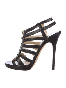 Jimmy Choo Glenys Caged Multistrap Black Sandals