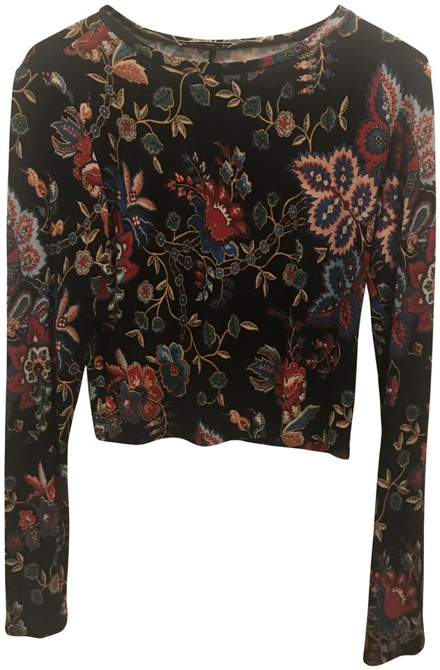 5bb982b9be938f Alice + Olivia Black with Flowers Blouse Size 8 (M) - Tradesy