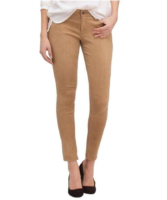 Item - Sand Coated Suede Leather Legging Brown Stretch Pants Tan Skinny Jeans Size 27 (4, S)