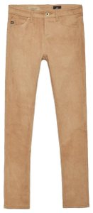 Anthropologie Adriano Goldschmied Suede Leather Jeans Tan Skinny Pants Brown