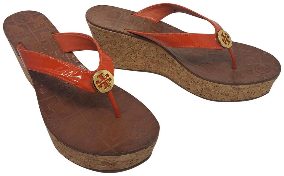 5fea0c769992 Tory Burch Orange Gold Patent Thora Logo Cork Sandals Wedges Size US ...