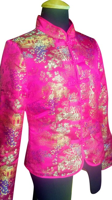 """Item - Multicolor Lightly Padded Contemporary """"Chinese"""" with Mandarin Collar Jacket Size 6 (S)"""