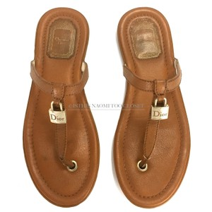 c8bac5f4d6e2 Dior Beach Casual Walk Leather Lock Brown Sandals