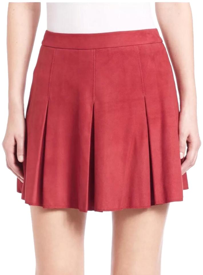 957cdae1a Alice + Olivia Dark Red Women's Lee Pleated Genuine Suede Skirt Size ...