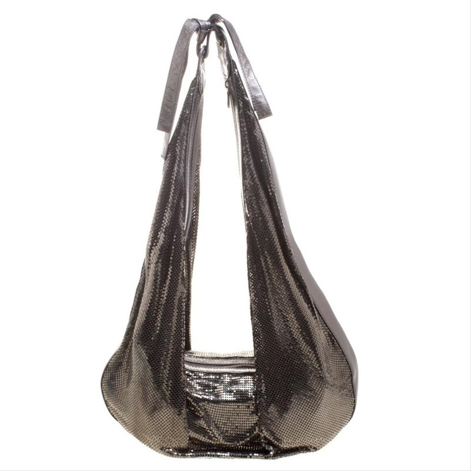 f2066d3d803f Chloé Metal Mesh Metallic Fabric Bronze Tone and Leather Hobo Bag ...