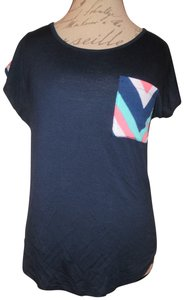 Annabelle Zig-zag Loose Thin Pocket Top Navy Blue, Pink, White
