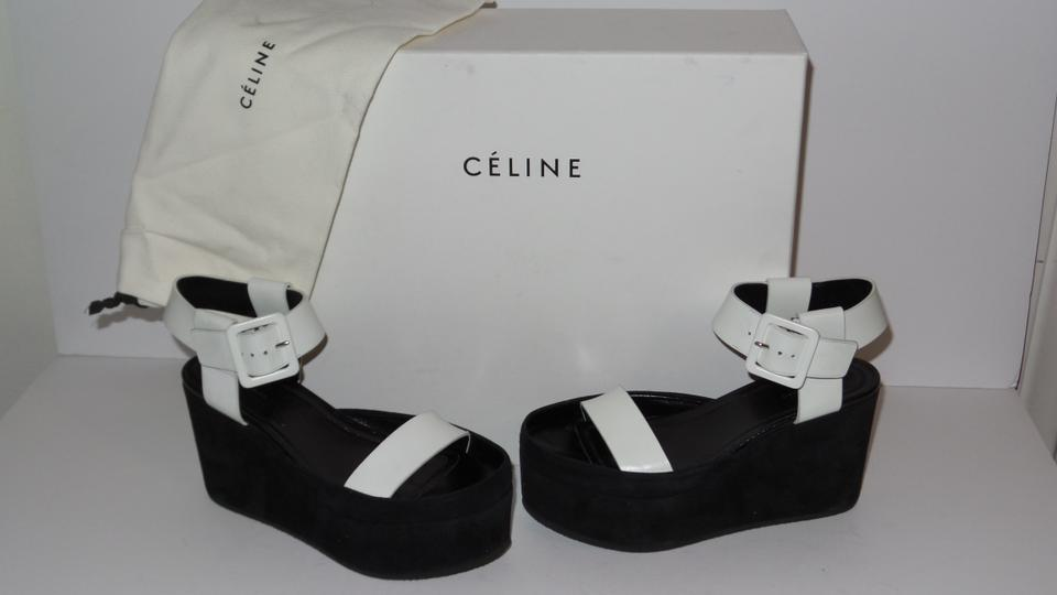 416080dce8dc2 Céline Black and White Leather Suede Platform Sandals Wedges Size EU 35  (Approx. US 5) Regular (M, B) 76% off retail