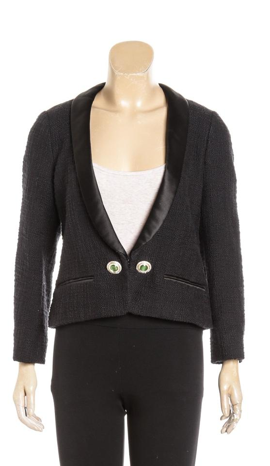 c93d7504d4f Chanel Black Long Sleeve Cotton Tuxedo 12a 40) 481111 Jacket Size 20 ...
