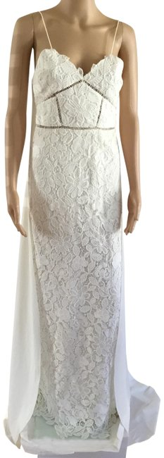 Item - White Lace Cape Back Bridal Gown Long Formal Dress Size 4 (S)