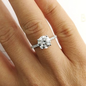 White 14k Gold Solitaire Diamond Style Engagement Ring