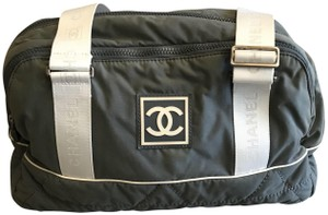 Chanel Grey and White Beach Bag