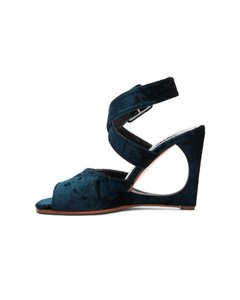 Rachel Comey Velvet Wedge Peacock Blue Sandals