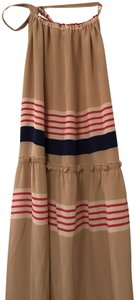 Nude with Navy/Pink stripes Maxi Dress by Alcee Maxi Halter