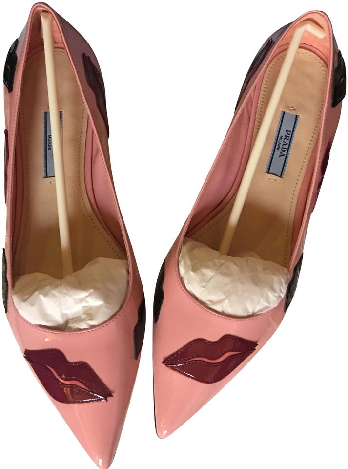 7018d35f0c7 Prada Pink Patent Leather Lips Pointed-toe Ballet Flats Size EU 37.5 ...