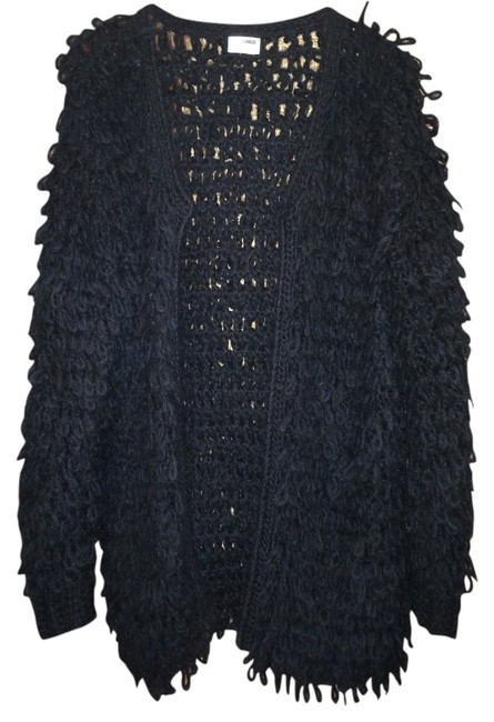 Item - Chunky Oversized Fringe Jacket Black Sweater