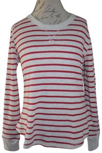 Gilligan & O'Malley Stripes Thermal Crew Longsleeve Top Ivory, Red