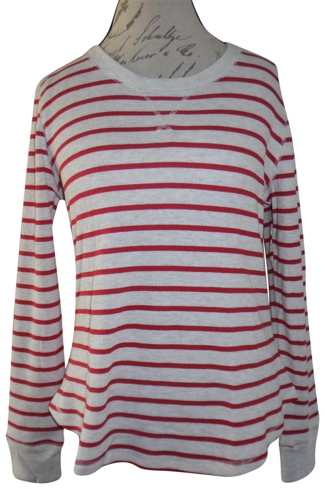 63197c24362 Gilligan & O'Malley Ivory Red Striped Thermal Crewneck Shirt Blouse Size 8  (M)