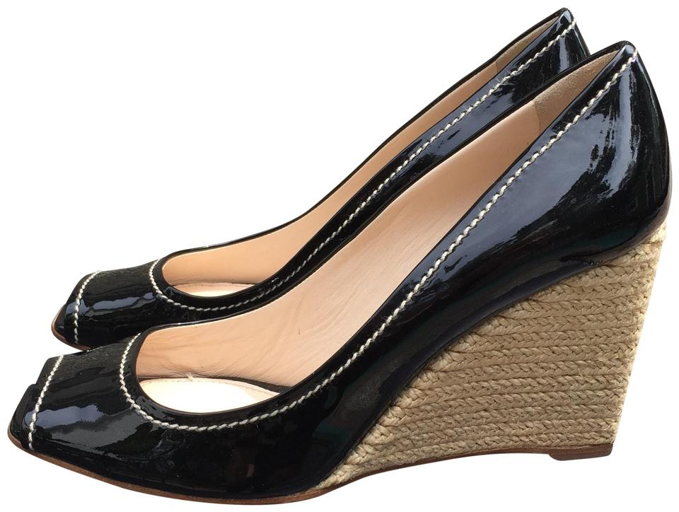 53e9fed9865 Prada Black Patent Leather Peep Toe Espadrille Heels Wedges Size US ...