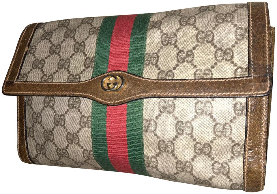 06bdbd78bce905 Gucci Vintage 80s Green/Red Web Gg Supreme Clutch/Cosmetic Toiletrybag  Brown Red Green Canvas Leather Clutch