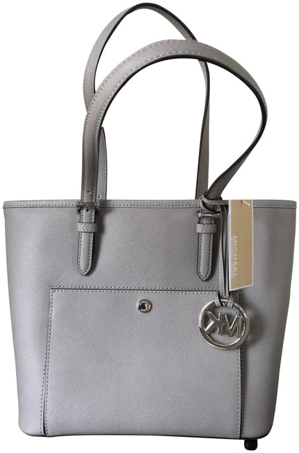 Item - Snap Pocket Pearl Grey Leather Tote