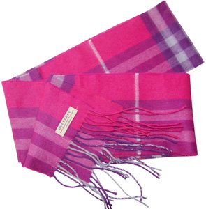Burberry Burberry Pink & Purple Check Burberry Cashmere Scarf Pink