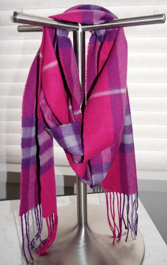 Burberry Burberry Pink & Purple Check Burberry Cashmere Scarf Pink Image 1