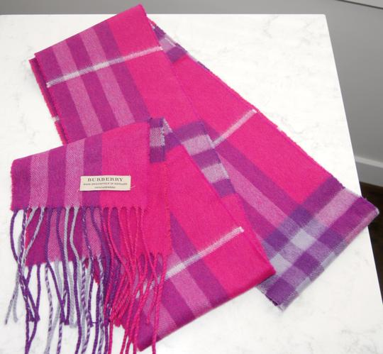Burberry Burberry Pink & Purple Check Burberry Cashmere Scarf Pink Image 2