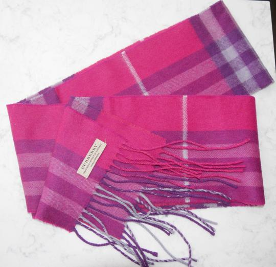 Burberry Burberry Pink & Purple Check Burberry Cashmere Scarf Pink Image 3