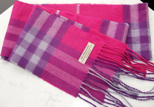 Burberry Burberry Pink & Purple Check Burberry Cashmere Scarf Pink Image 4