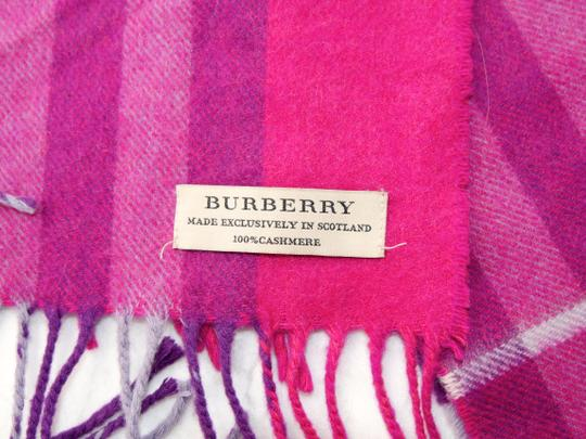 Burberry Burberry Pink & Purple Check Burberry Cashmere Scarf Pink Image 5