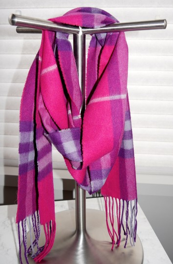 Burberry Burberry Pink & Purple Check Burberry Cashmere Scarf Pink Image 6