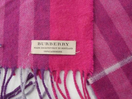 Burberry Burberry Pink & Purple Check Burberry Cashmere Scarf Pink Image 7