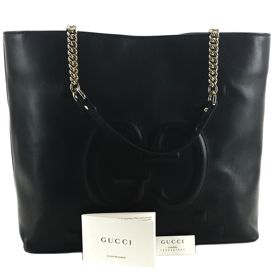 26ff446be0bf Gucci Apollo with Embossed Gg Tote Black Leather Shoulder Bag - Tradesy