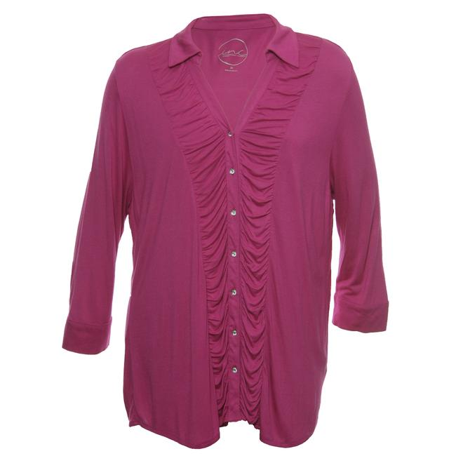 Item - Pink 3x Long Sleeve Ruched Shirt Button-down Top Size 24 (Plus 2x)
