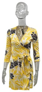Diane von Furstenberg short dress Yellow Pattern Wrap Mid on Tradesy